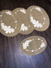 ROMANY GYPSY WASHABLES  SETS OF 4 MATS CREAM BEIGE NON SLIP GYPSY OVAL RUGS